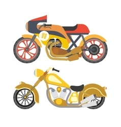 Motorcycle motorbike flat icons set vector