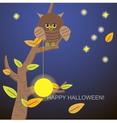 Owl tree with the moon and stars vector image