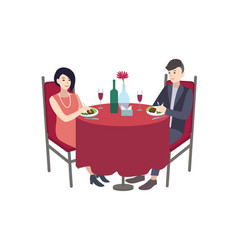 pair of male and female cartoon characters dressed vector image