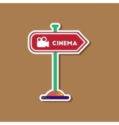 paper sticker on stylish background cinema sign vector image