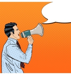 Pop Art Businessman Shouting in Megaphone vector image