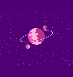 saturn flat style planet of the solar system vector image vector image