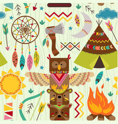 seamless pattern with tribal elements vector image vector image