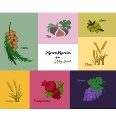 Seven species of the holy land jewish holiday vector