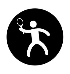 silhouette of athlete practicing tennis vector image vector image