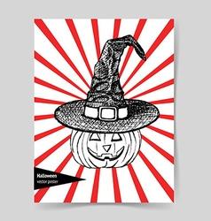 Sketch pumpkin in hat vector image vector image