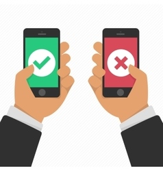 Smartphones with checkmarks set vector image vector image