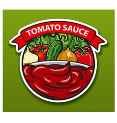 sticker of tomato sauce vector image