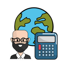 Teacher with calculator and global planet vector