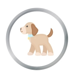 Walking the dog icon in cartoon style for vector image