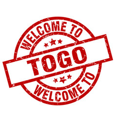 Welcome to togo red stamp vector