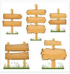 Wooden sign boards set cartoon wooden sign vector image vector image