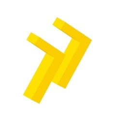 Yellow rewind button isometric 3d icon vector