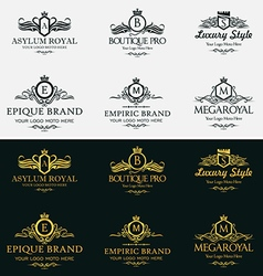 Heraldic royal luxurious crest logos set 1 vector