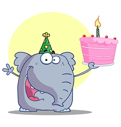 Elephant in a party hat holding up a cake vector
