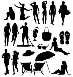 Beach-silhouettes vector