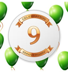 Golden number nine years anniversary celebration vector