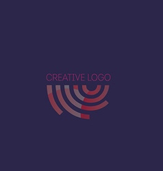Creative logo abstract geometric lines with round vector