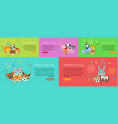 animal carnival collection of cartoon face masks vector image