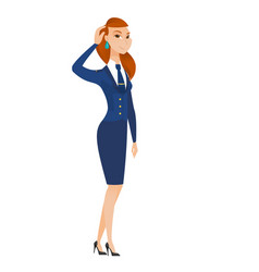 Young caucasian stewardess scratching her head vector