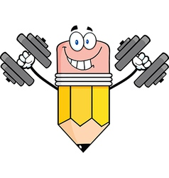 Pencil cartoon character training with dumbbells vector