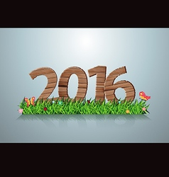 2016 happy new year wooden sign on green grass vector