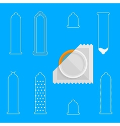 Contour icons for condoms vector