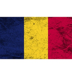 Flag of Chad with old texture vector image