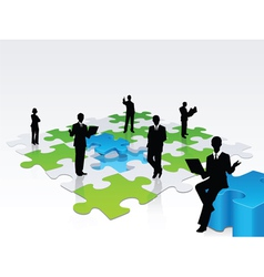 3D business silhouette assembling a puzzle vector image vector image
