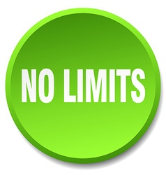 No limits green round flat isolated push button vector