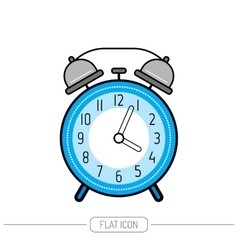 Alarm clock flat color icon Clock isolated on vector image