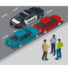 Auto accident involving two cars on a city street vector image