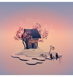 Autumn landscape with brick house on the island vector image