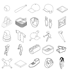 Baseball icons set isometric 3d style vector image