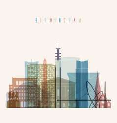 birmingham skyline detailed silhouette vector image