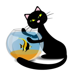 Black cat wants to catch the fish in the aquarium vector