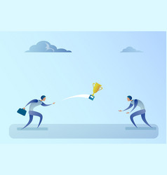Business people throwingwinner cup successful vector