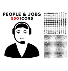 call center operator icon with bonus vector image vector image