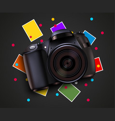 Camera and pictures photo shooting background vector
