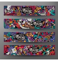 Cartoon hand-drawn doodles Musical banners vector image vector image
