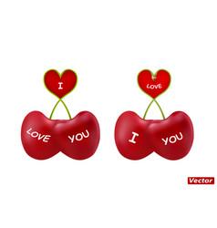 Cherries heart-shaped in vector