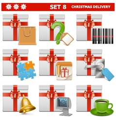 Christmas delivery set 8 vector