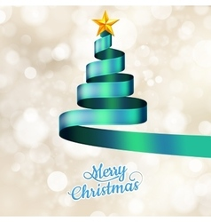 Christmas tree from blue ribbon and star eps 10 vector