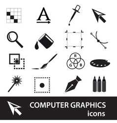Computer graphics black symbols icon set eps10 vector