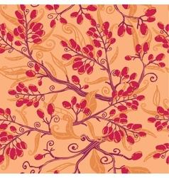 Fall buckthorn berries seamless pattern background vector