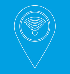 Geo tag with wi fi sign icon outline style vector