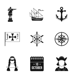 Geography icons set simple style vector