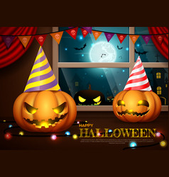 halloween pumpkins party vector image
