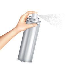 Hand holding spray can realistic vector