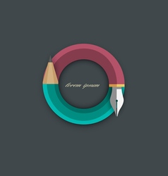 Icon of stylized pencil with writing pen vector
